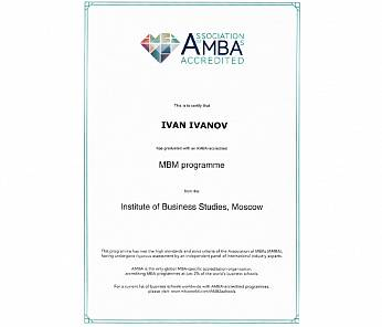 "Accreditation AMBA (Association of MBAs) master program ""Management"""